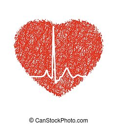 Heart with cardiogram. EPS 8 vector file included