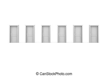 Six Grey Doors - line of six grey closed doors - door and...