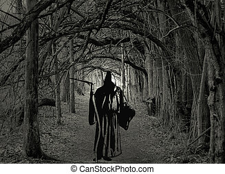 Grim Reaper standing in a spooky forest