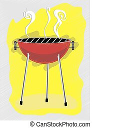 BBQ scribble sketchy retro ad style - Barbecue abstract...