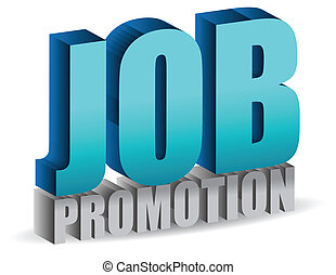 job promotion 3d sign isolated over a white background