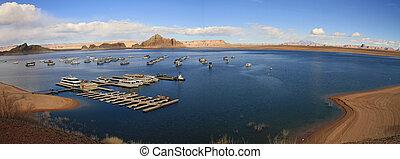 パノラマ, 航空写真,  Powell, 湖