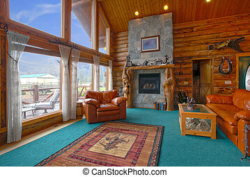 Rustic log cabin living room - Very rustic log cabin on the...