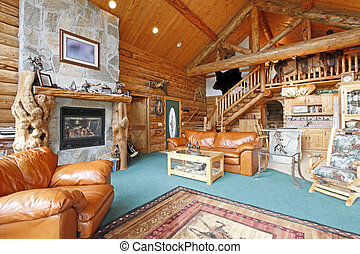Log cabin rustic and large living room - Horse farm log...
