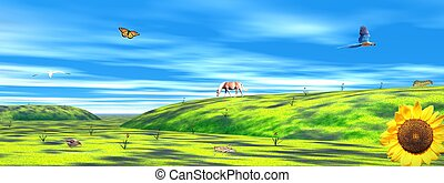 Nature and animal landscape - Landscape with sunflowers,...