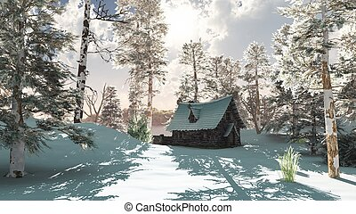 Northern Winter Cottage in Snow