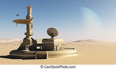 Sci-Fi desert outpost building - Isolated futuristic outpost...
