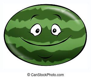 Cartoon Watermelon - A cheerful cartoon watermelon. A...