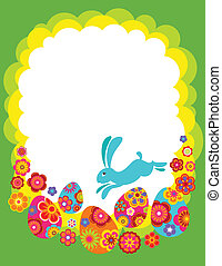 Easter background with bunny and colored eggs