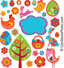 Easter icons and graphic elements - Colorful Easter icons...