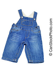 baby's denim overall on a white background