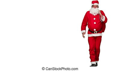 Santa Claus dancing against a white background
