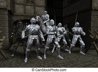 Last Stand of Prince's Bodyguard - Armoured knights and...
