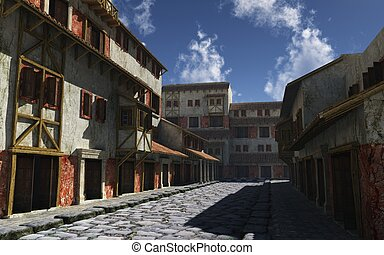 Ancient Roman Street - Deserted ancient Roman street in...