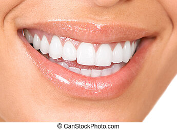teeth and smile - Healthy woman teeth and smile. Close up.