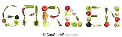 Garden word made of vegetables - Garden word made of...