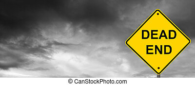 Dead End Sign - Dead end sign with dark storm clouds behind.