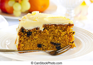 Carrot Cake - Carrot cake with cake fork. Healthy fruit...