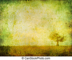 vintage image of a tree in the field