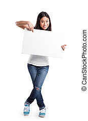 Asian woman with blank poster - An isolated shot of a...
