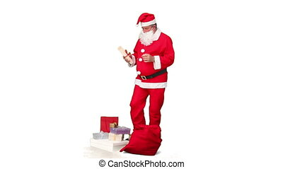 Santa Claus reading a gift list