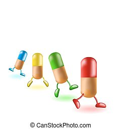 Medical capsules - The medical capsules walk on a white...