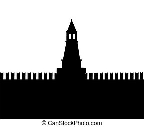 Moscow - Silhouette of an ancient fortress on a white...