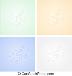 Musical background - Multicoloured musical backgrounds with...
