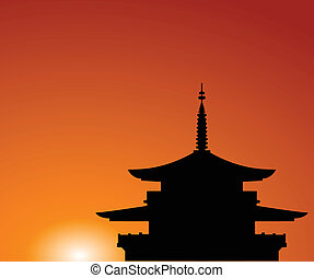 Pagoda - Silhouette of a building in Asia on a background of...