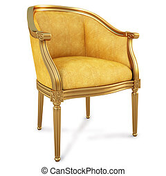 chair - golden chair with yellow skin. isolated on white....