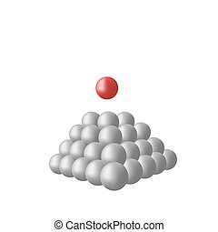 Pyramid - Much grey spheres and one red sphere