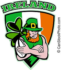 Irish leprechaun rugby player - illustration of an Irish...