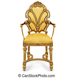 chair - golden chair with yellow skin isolated on white with...