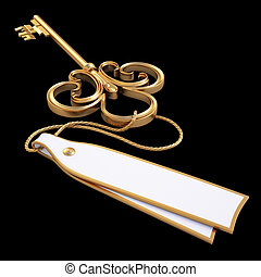 key - antique golden key with blank card isolated on black...