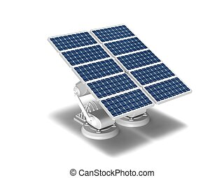 Solar energy panels - Twin panel solar energy on a white...
