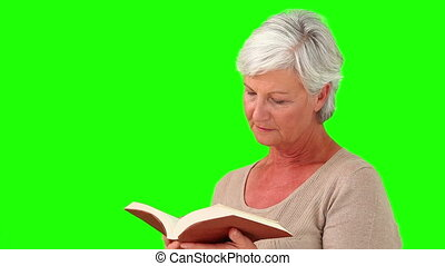 Retired woman reading a book - Chroma-key footage of a...