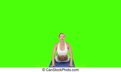 Blond woman doing relaxation exercise - Chromakey footage of...