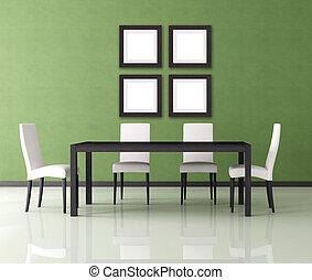 modern dining room - green modern empty dining room -...