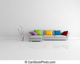 bright colored minimalist living room - gray modern couch...