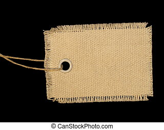 Blank textile tag isolated
