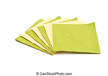 Green and yellow napkins - Green and yellow napkins isolated...