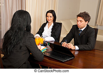 Job interview - Business people having a job interview and...