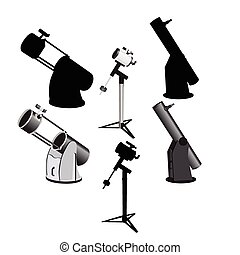 Telescope 2 - 6 versions of telescopes on mounts