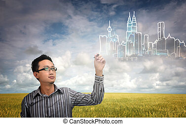 city development - asian man with a dream of building a...