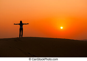 silhoutte of a girl - silhouette of a freedom girl on thar...