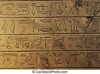 Hieroglyphs - Ancient Egyptian hieroglyphs carved in the...