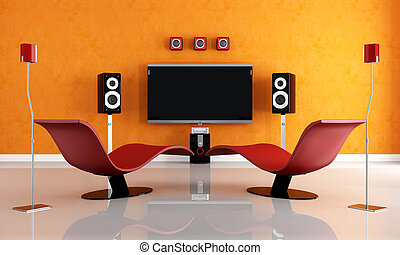 contemporary home theater - modern home theater with two...