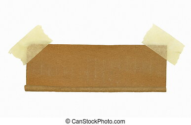 cardboard roll scrap and masking tape isolated on white...