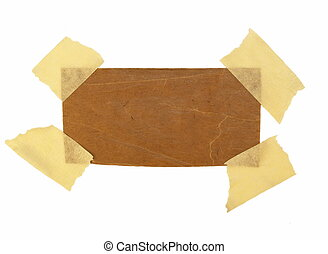 cardboard scrap and masking tape isolated on white...