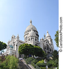Sacre-Coeur - The Famous church of Sacre-Coeur, Montmartre,...